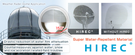 Super Water-Repellent Material, HIREC, Drastic reduction of water film attenuation , Countermeasures against snow and ice related-field troubles