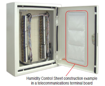 Humidity Control Sheet construction example in a telecommunications terminal board