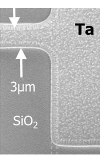 SEM image: Ta heater pattern close-up