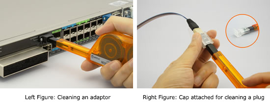 Left Figure: Cleaning an adaptor,Right Figure: Cap attached for cleaning a plug